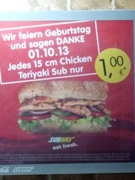 [Lokal SHA] 15 cm Chicken Teriyaki Sub für 1 Euro am  01.10.