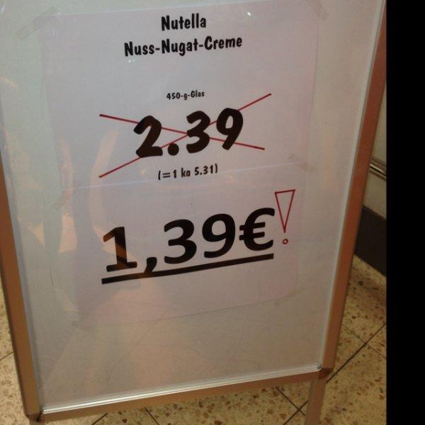 Kaufland (Lokal Holzminden) nutella 450g Glas für 1,39€