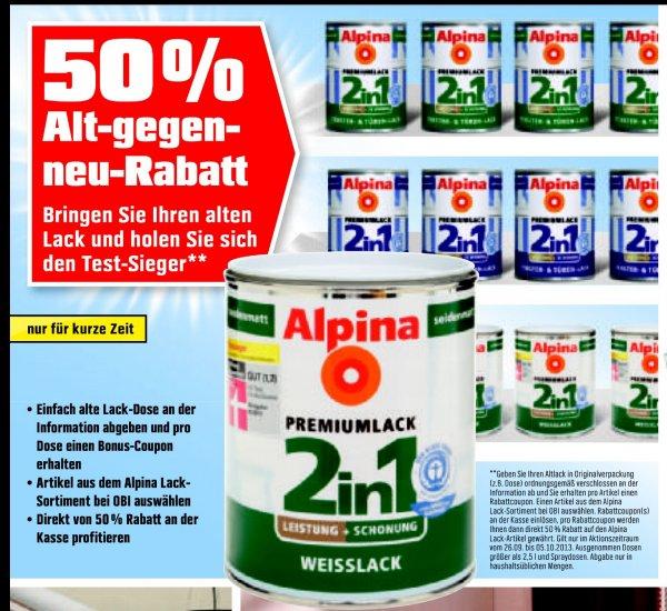 Alt gegen Neu - 50% auf Alpina Lacke bei OBI