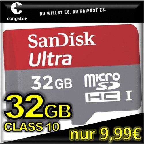 congstar Prepaid SIM-Karte + 32GB SanDisk mobile ultra UHS-I micro SDHC CLASS 10 Speicherkarte für nur 9,99€