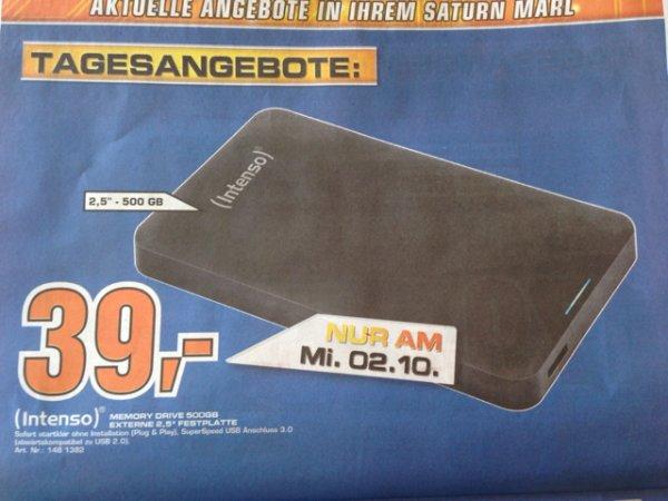 [Lokal] Intenso Memory 500GB USB 3.0 39€ am 2.10 Saturn Marl