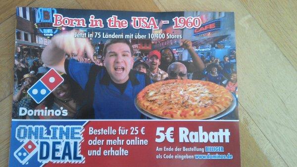 5€ online-Rabatt bei Domino's MBW 25€
