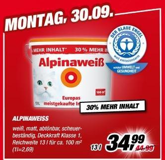Alpinaweiss 13 Liter am Montag (30.09)  @ Toom-Baumarkt