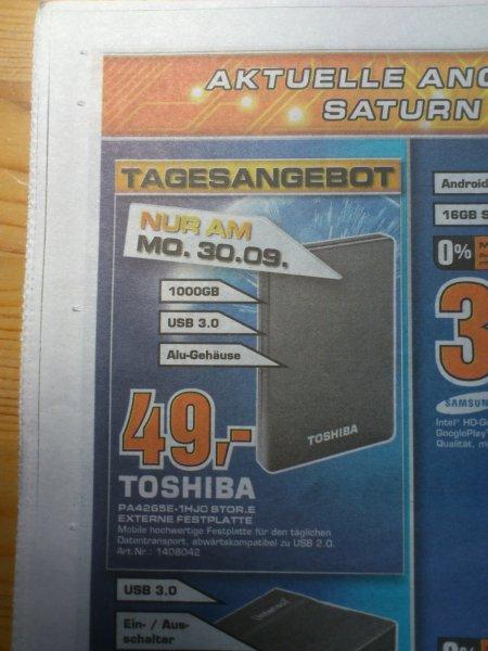 """[Lokal Saturn Göttingen] Toshiba 1TB 2,5"""" USB 3.0 49 € (nur am Montag) + weitere Festplatten"""