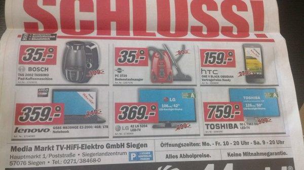 Lokal MM Siegen Schlussverkauf (u.a. Bosch Tassimo, Staubsauger Progress, Toshiba 50 Zoll LED-TV