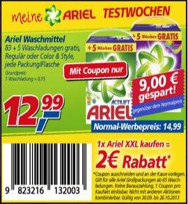 real [bundesweit] Ariel Waschmittel 83+5 Waschladungen