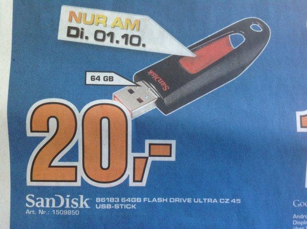 [Lokal] Saturn Baunatal am 01.10: SanDisk Ultra CZ 45 - 64GB USB-Stick