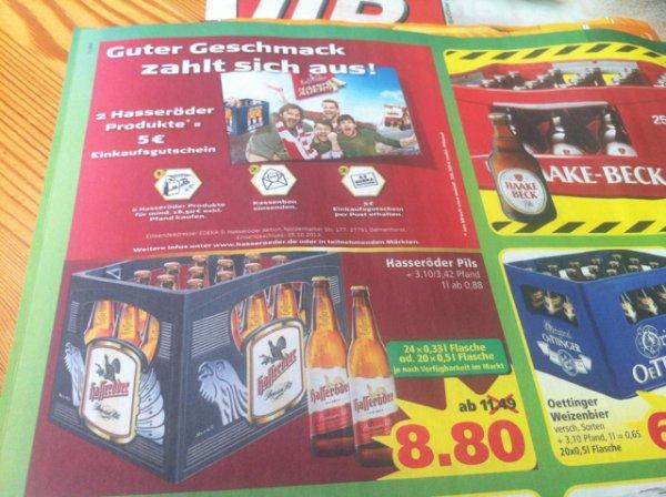 2 Kisten Hasseröder für effektiv 12,60€ bei Marktkauf