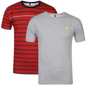 SLAZENGER MEN'S 2 PACK T-SHIRTS - GREY/RED/NAVY