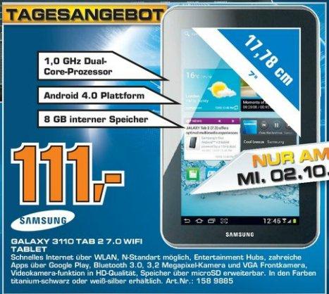 Saturn Mannheim: Samsung Galalxy Tab 2 7.0 Wifi 8GB für 111€ nur am Mittwoch 02.10.2013