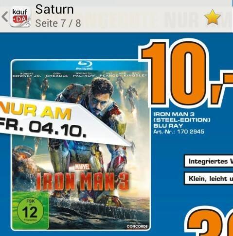 Iron Man 3 Steelbook für 10€ am 04. Oktober (Saturn Stuttgart)