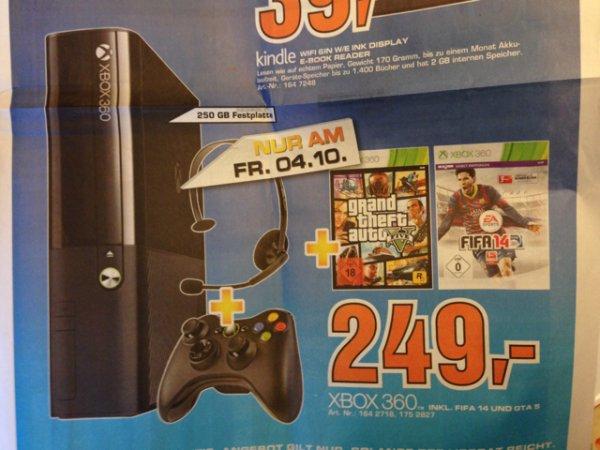 XBox 360 250GB inkl. GTA V und FIFA 14
