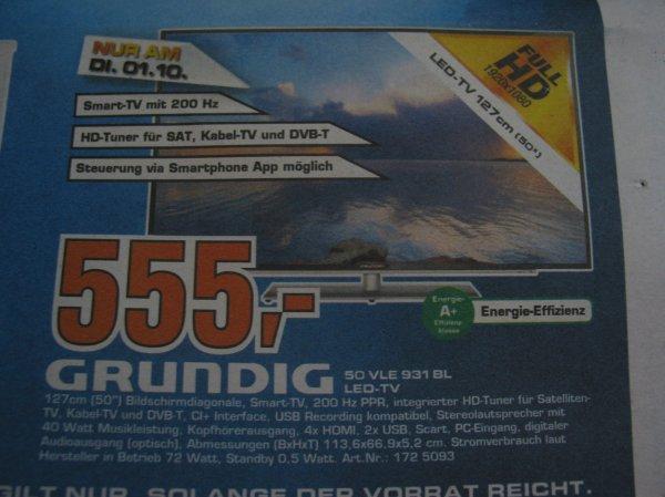 Grundig 50 VLE 931 BL LED-TV 555,00 € -lokal offline-