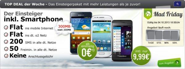 Für Wenigtelefonierer/Whatsapper O2 Blue Basic mit Galaxy S2 Plus (0,-) oder S3 Mini (0,-) oder S4 Mini (115,-) und weitere Handys auf Anfrage!Tarif ist mit 300MB Flat (7,2 Mbit/s), Flat ins o2 Netz, 50 Freiminuten und 200 Frei-SMS für nur 9,99 Euro