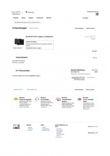 SONY DSC RX100 II (bzw. Mark 2) für 561,75 € im Sony Online Store statt idealo 659,37 € (qipu 28,32 = 533,43) WIEDER VERFÜGBAR (8.10. 8.15 Uhr)