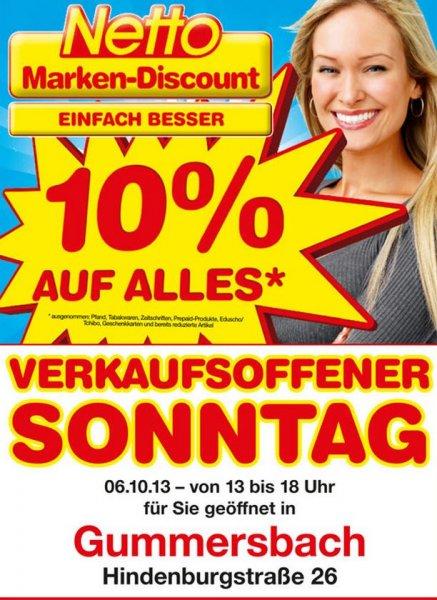 [Lokal Gummersbach] 10% auf alles bei Netto am 6.10.13, Verkaufsoffene Sonntag