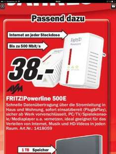 [Media Markt Berlin] FRITZ!Powerline 500E Set für 38 Euro