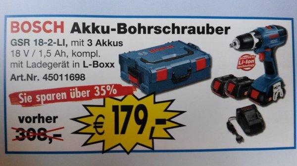 Bosch Akku-Bohrschrauber GSR 18-2-Li 3x 1,5Ah Ladegerät in L-Boxx 179 €
