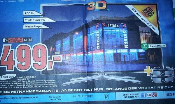 Lokal Saturn Celle am 4./5.10.13: Samsung UE 46 F 6170 SSX LCD-LED TV, Finanzierung über 12 Monate mit 0% möglich