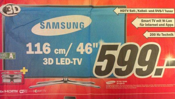 Samsung UE 46 F 6340 für 599,- € mit 3D, Samrt TV und Triple Tuner bei MediaMarkt in Hamburg