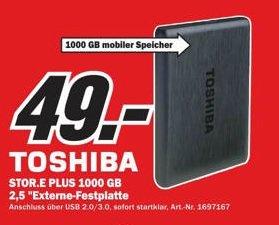 "[LOKAL: Media Markt Gütersloh] Externe Festplatte: 2,5"" Toshiba Stor.E PLUS - 1TB          für 49€ ab dem 4.10.13"