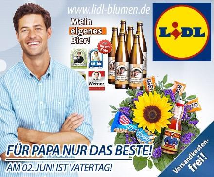 5 statt 11 Euro für Deinen Gruß zum Vatertag - oder jeden anderen Artikel Deiner Wahl! Personalisierte Geschenkartikel und wunderschöne Blumensträuße von lidl-blumen.de