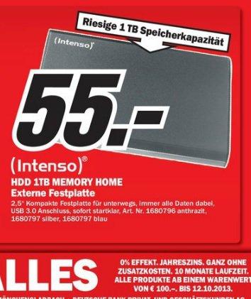 "[Lokal Landau] HDD Intenso 1TB Memory Home - externe 2,5"" Festplatte mit USB 3.0 für 55€ im Media Markt"