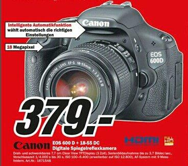 Media Markt [lokal Berlin/Brandenburg offline] Canon EOS 600D Kit mit 18-55DC