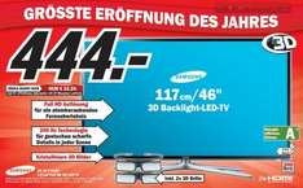[Lokal - MM Kaiserslauten] Samsung UE46 F6100 (FullHD, 3D, mit 2 Brillen)
