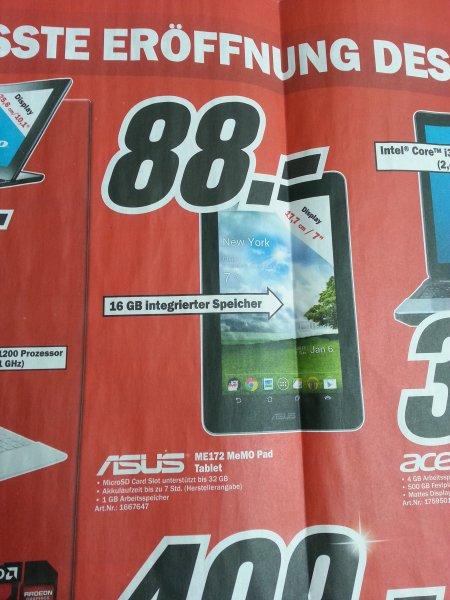 Lokal - alle Kölner MM: Asus ME172 MeMo Pad 16GB