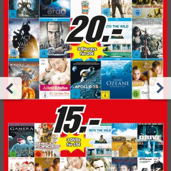 [Lokal] Mediamarkt Lippstadt. 3 Bluerays für 20 bzw. 3 DVDs für 15.