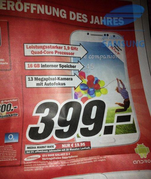 [Lokal MM Kaiserslautern] Samsung Galaxy S4 GT-I9505 nur 399€