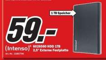 """[LOKAL: Rheine & an vielen Media Märkten ] Externe Festplatte: 2,5"""" Intenso Memory Home 1TB (6026560) (USB 3.0) - variable Preise"""