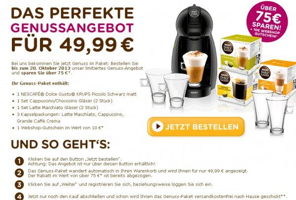 KRUPS Piccolo + 2 Cappuccino/Chococino Gläser + 2 Latte Macchiato Gläser + 3 Kapselpackungen: Latte Macchiato, Cappuccino, Grande Caffè Crema + Gutschein im Wert von 10 € @dolce-gusto.de