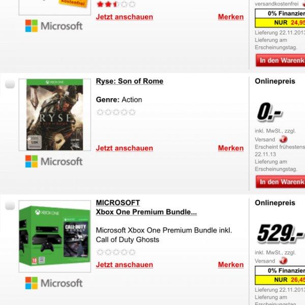 Ryse Xbox One bei Media Markt online 0€! Preisfehler!