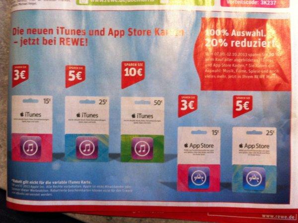 20% auf Itunes/Appstore-Karten @Rewe [07.10-12.10]