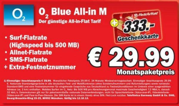 [Lokal] Mediamarkt Berlin/Brandenburg Original O2 Blue All-in M + 333 Euro Gutschein