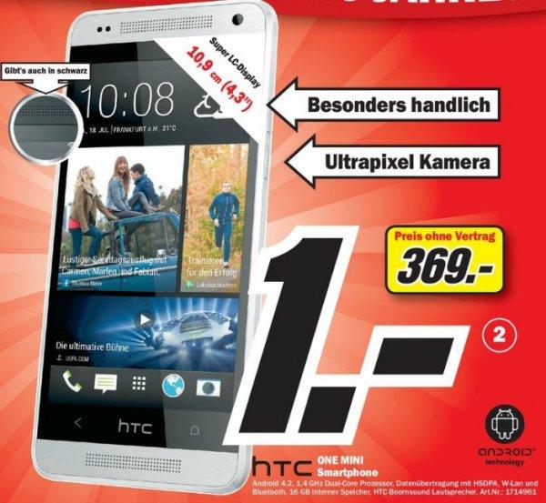 [Lokal] Mediamarkt Berlin/Brandenburg HTC One Mini in schwarz oder glacial silver für nur 369 Euro