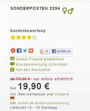 Einstärken-Brillen nach individuellen Werten ab 19,90 Euro