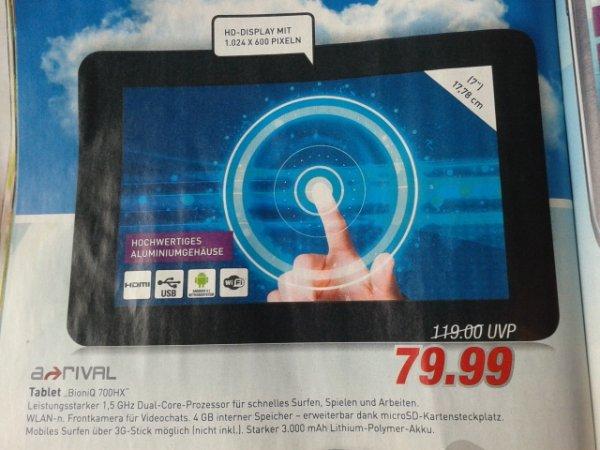 """7"""" Zoll Tablet A-rival BioniQ 700HX @Ratio Lokal?"""