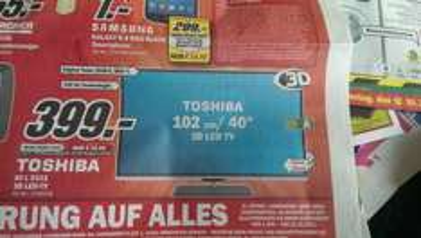 [LOKAL WILHELMSHAVEN] TOSHIBA 40L5333 3D TV Für 399 Euro