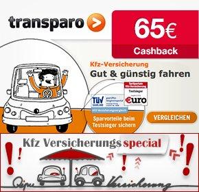 [Verlängert] Transparo - Jetzt 65 € für den Abschluss einer KfZ-Versicherung