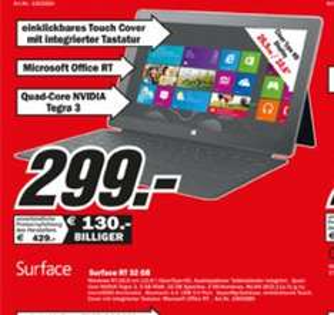 MediaMarkt  Mannheim, Heppenheim, Ludwigshafen, Viernheim und weitere: Microsoft Surface MIT Touch-Cover für 299€