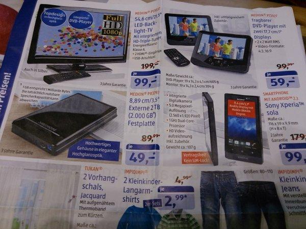[Lokal Aldi] 2Tb extern Medion Usb3 49 Euro / 21,5 Zoll TV mit DVD Player für 99 / Tragbarer DVD Player (7 Zoll Monitor) für 59