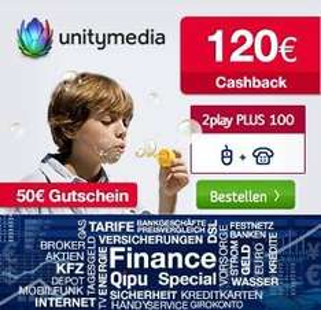 Wieder da! Unitymedia mit 120€ Cashback + 50€ Gutschein (BestChoice) für 2play PLUS 100