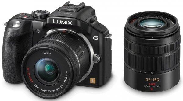 Panasonic Lumix DMC-G5 Kit 14-42 mm + 45-150 mm (DMC-G5W) für 492,54 € @Amazon.fr