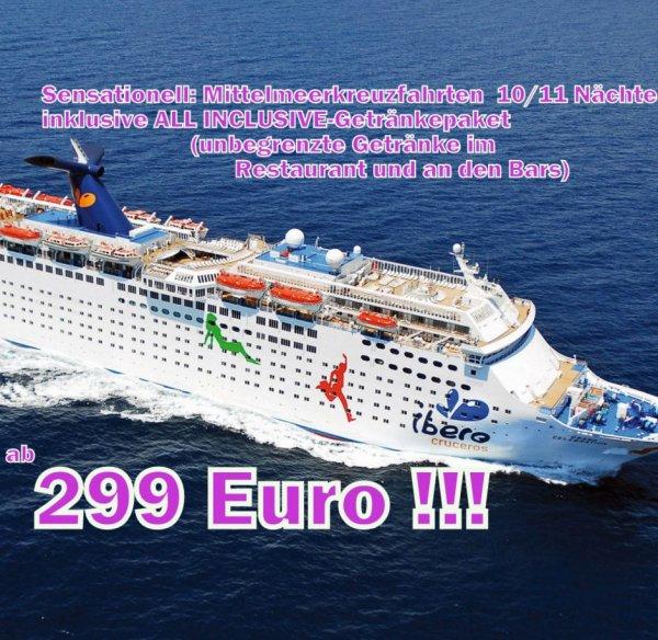 Kreuzfahrt 12 Tage ALL Inkl. 299€+100€ Flug p.P. Innen z.B.11.12.2013 ab Barcelona