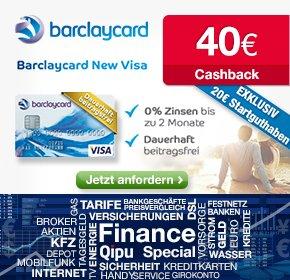 Barclaycard New Visa + dauerhaft beitragsfrei + 20€ Startguthaben und 40€ Cashback mit qipu