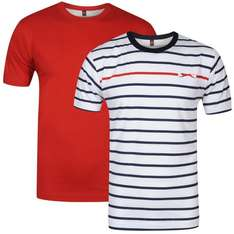 Slazenger Men's 2 Pack T-Shirts - Red/White/Navy für 6€ @Zavvi