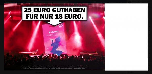 Media Markt Bundesweit 25€ Itunes für 18€